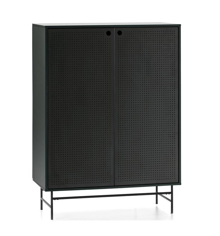 Mueble aparador alto Punto metal negro verde 150x93