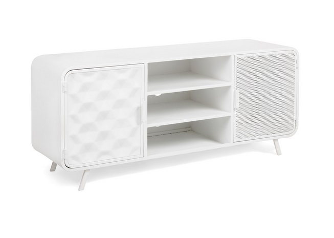 Mueble TV industrial metal blanco Lui 140x60