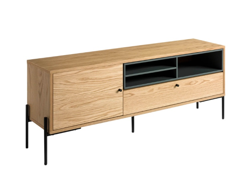 Mueble TV roble acero negro 155 cm