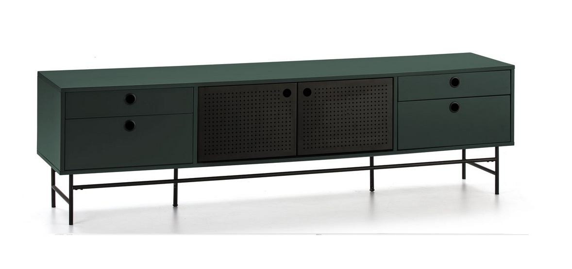 Mueble TV industrial Punto metal verde 180 cm