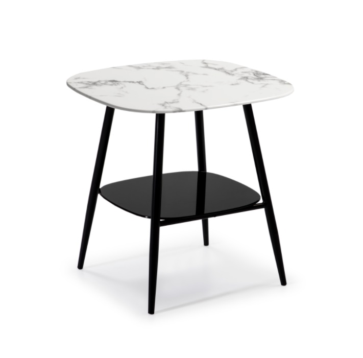 Mesa rincon alina cristal marmol blanco 55