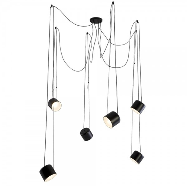 Paco lampara colgante metal blanco o negro mate 6 luces