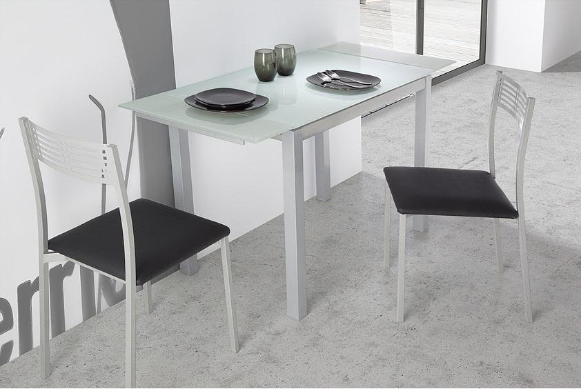 Mesa de cocina extensible Sintra cristal blanco