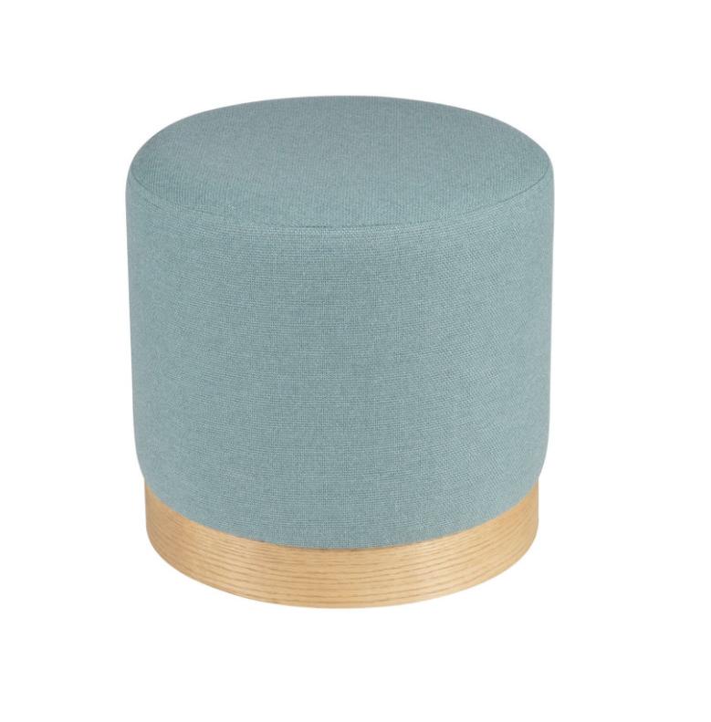 Puff Angus base madera tela azul 40 cm