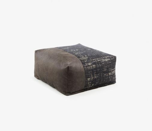 Puff Boston tapizado en tela jacquard en marrón y negro 70x70 cm