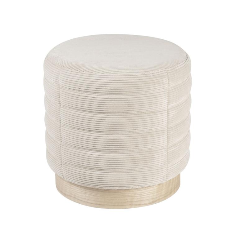 Puff Saul base madera tela rayada beige 40 cm