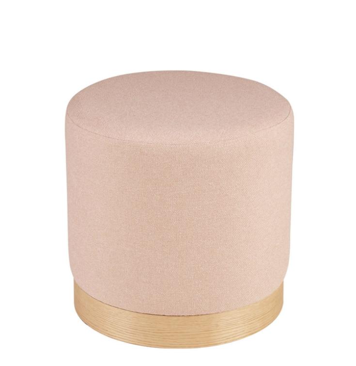 Puff Angus base madera tela rose 40 cm