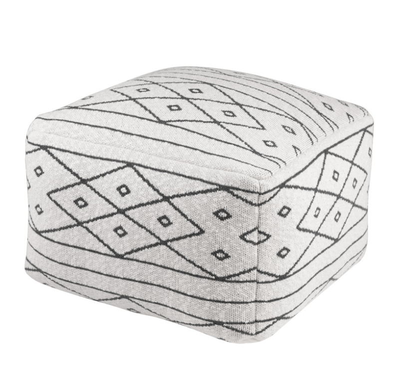 Puff Diamond en algodón en tonos blancos y negros