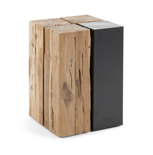 Mesita auxiliar hierro madera