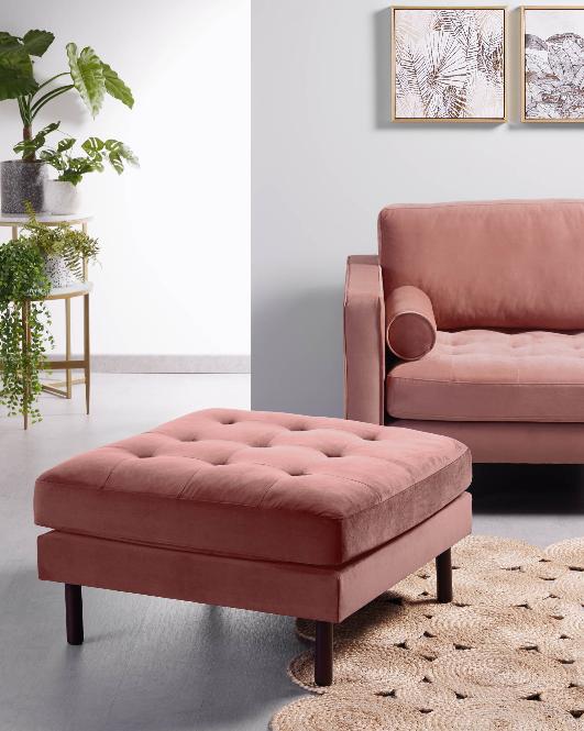 Puf Matilda terciopelo rosa 80x80 cm