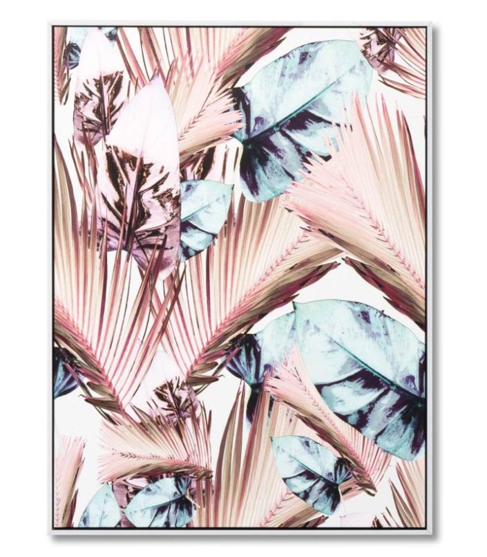 Cuadro Rosy Palm blanco 60x80 cm
