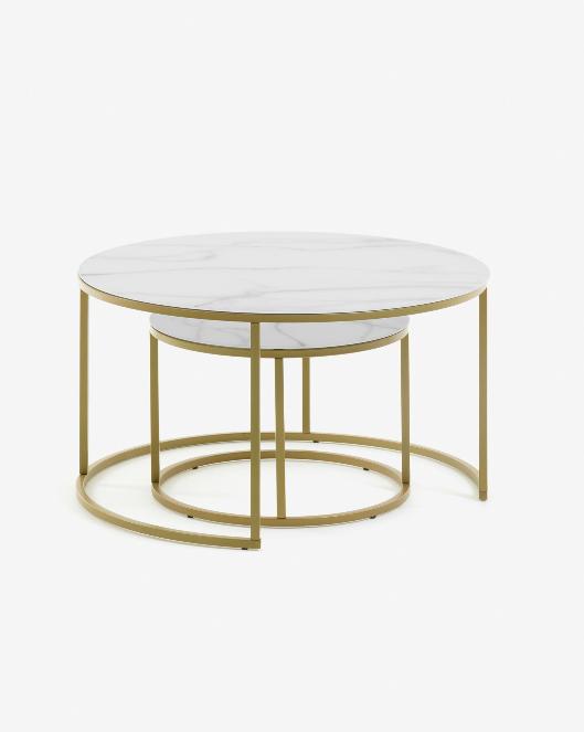 Set de 2 mesas Veronica mármol y el acero dorado 50/80 cm