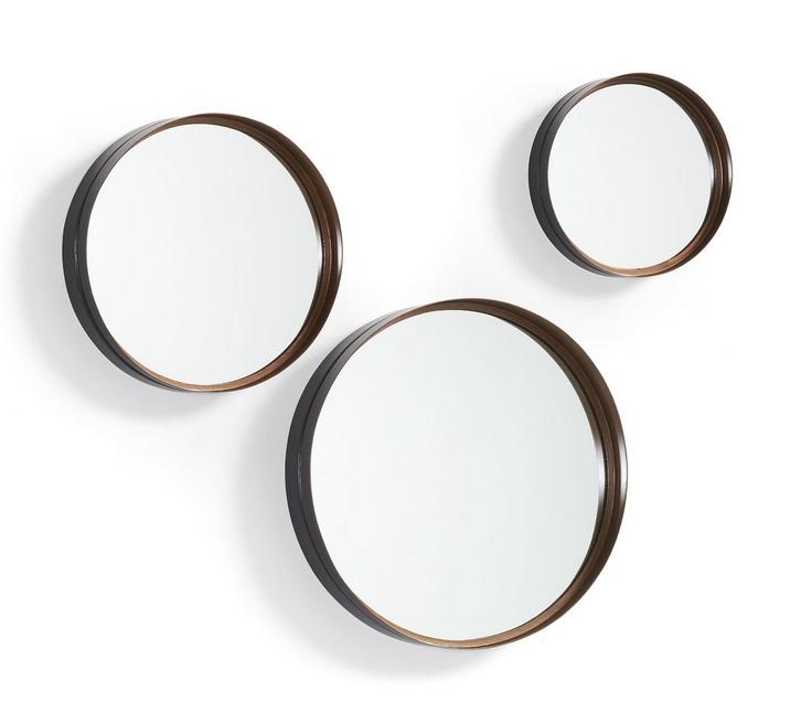 Set 3 espejos metal negro cobre