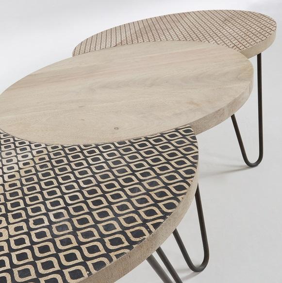 Set 3 mesas metal madera decorada natural 134x61