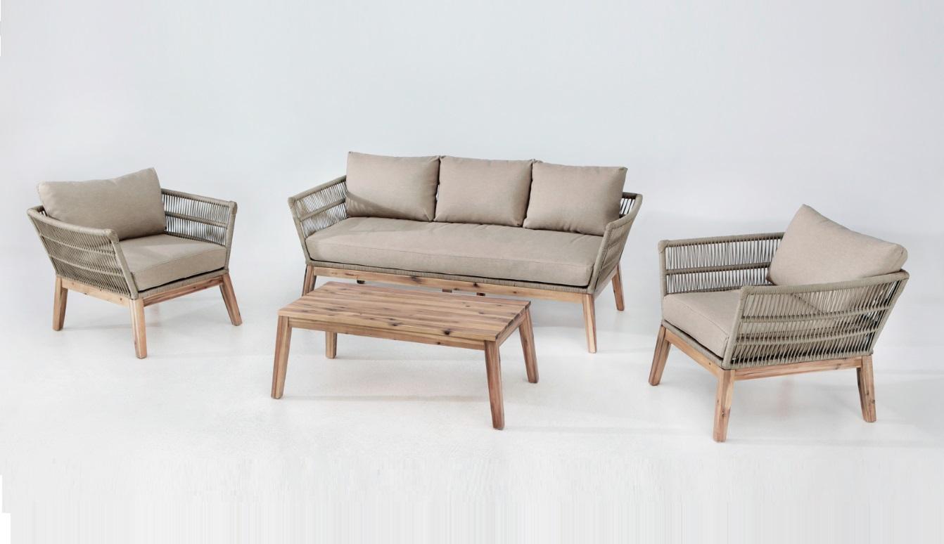 Set sofas Bellano cuerda trenzada beige madera acacia