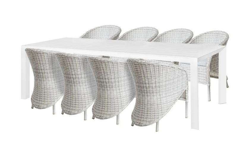 Conjunto Freya mesa de comedor y 8 sillones open