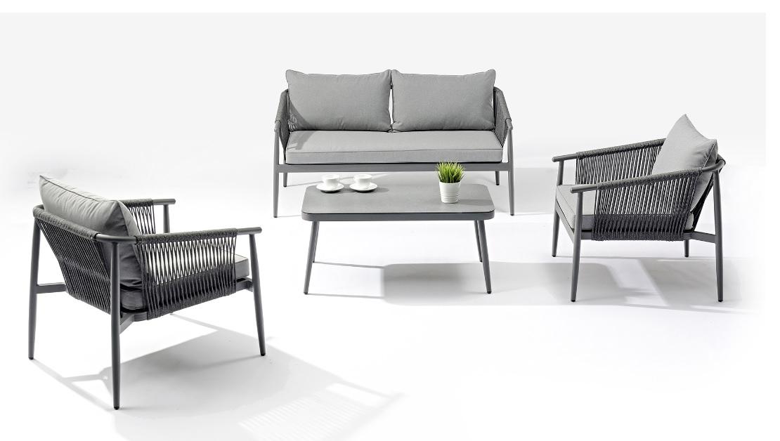 Set sofas jardin Zadar aluminio cuerda gris