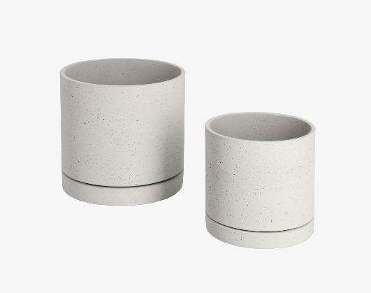 Set de 2 maceteros cemento gris