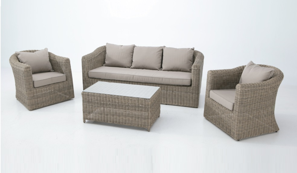Set terraza rattan color natural java 5 plazas