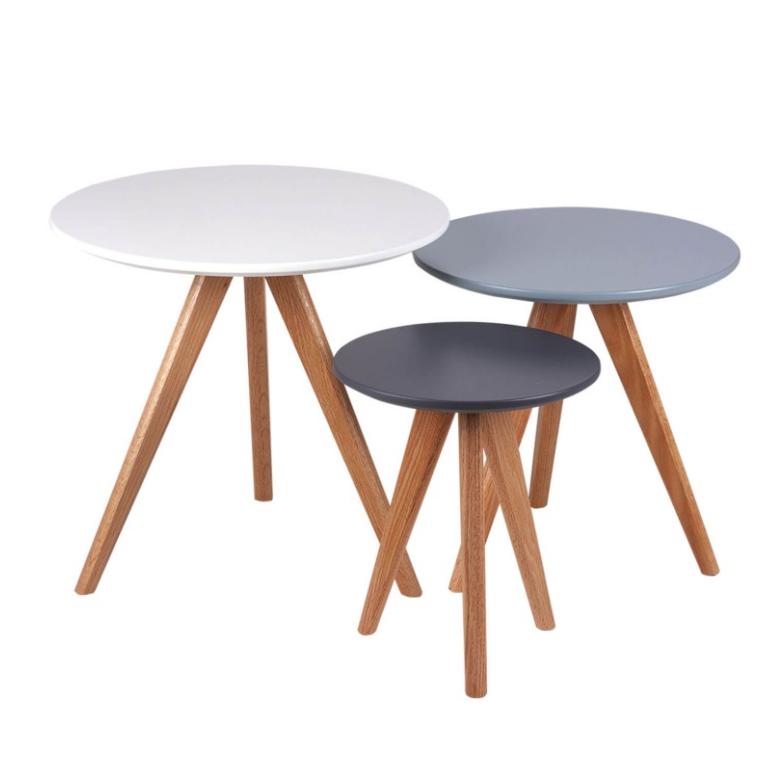 Set mesas centro Lucio blanco,azul,gris 48/40/30 cm