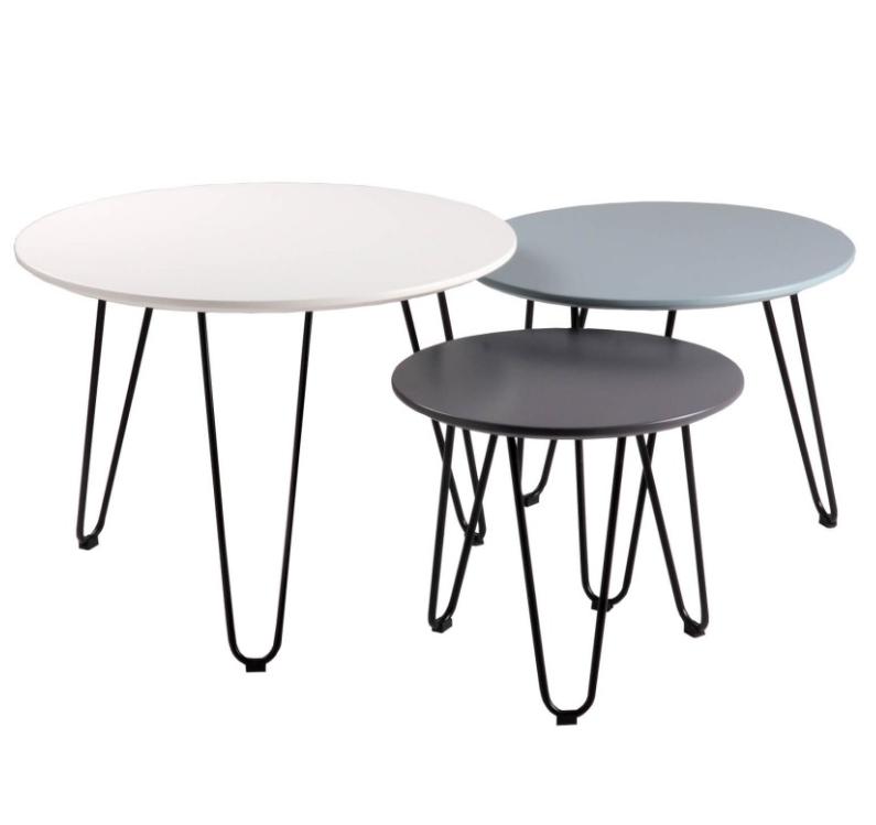 Set mesas centro Fabio blanco,azul,gris 60/50/40 cm