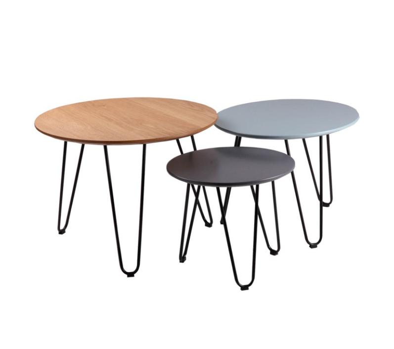 Set mesas centro Nero roble,azul,gris 60/50/40 cm