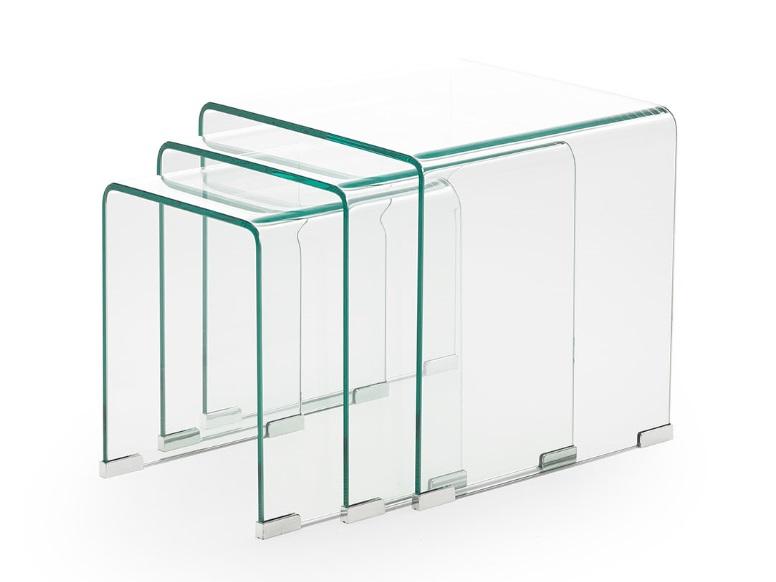 Mesas auxiliares nido cristal
