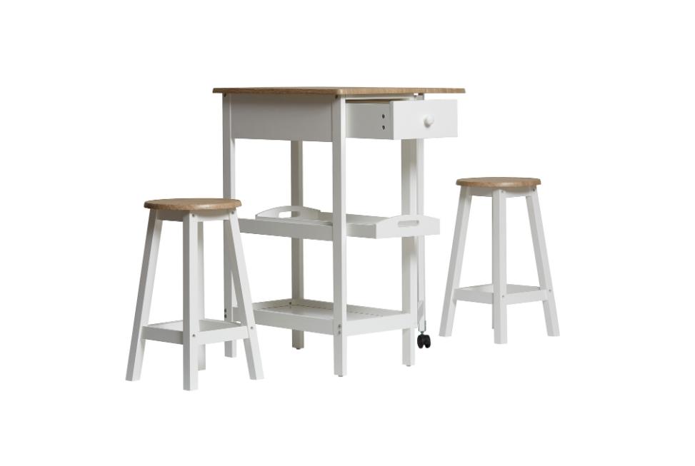 Conjunto de cocina Auri madera blanco taburetes y mesa alta