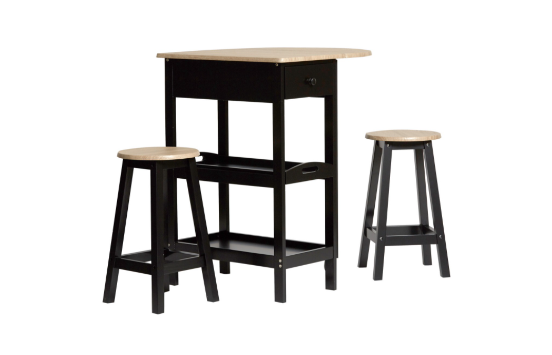 Conjunto de cocina Auri madera negro taburetes y mesa alta