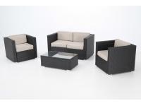 Set sofas rattan negro Haiti 4 plazas