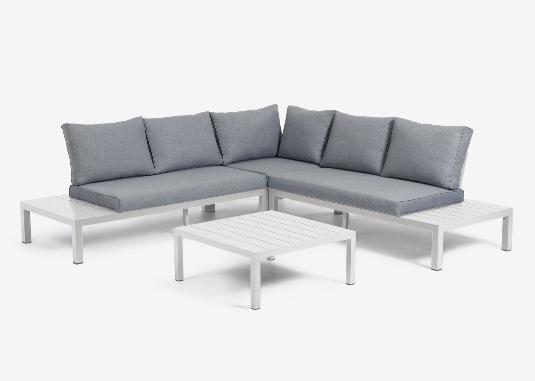 Set de exterior Salamandra de sofá rinconero 5 plazas y mesa de aluminio blanco
