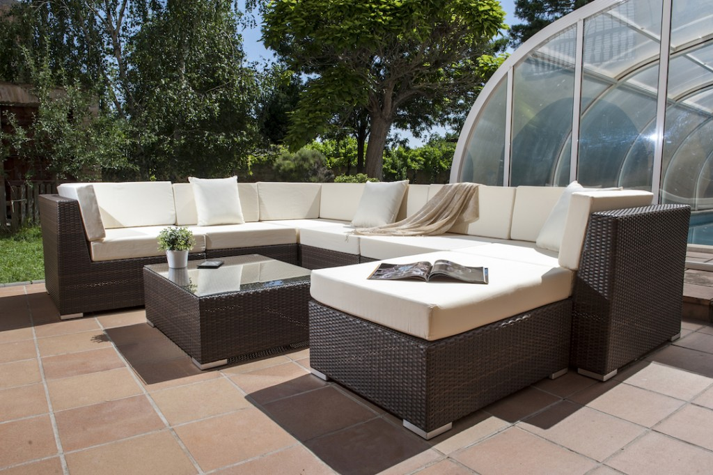 Set sofa modular lounge bali ratan chocolate cojines beige