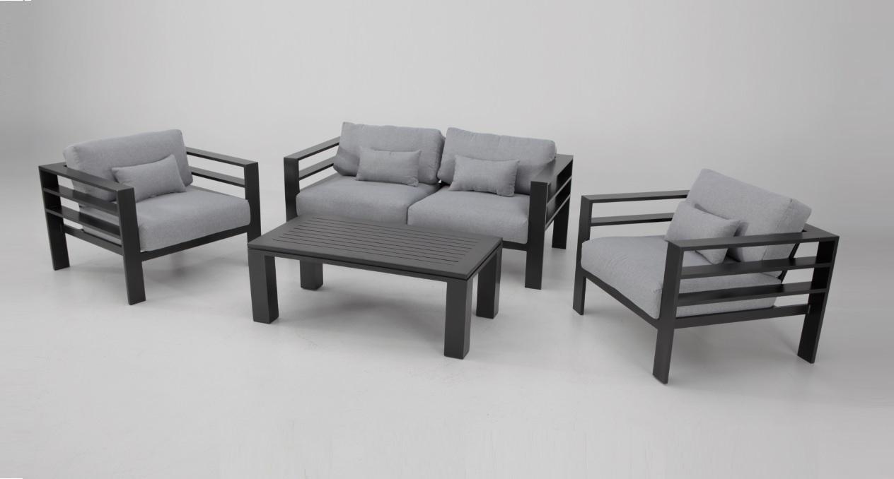 Set sofas terraza Victory aluminio grafito cojines gris