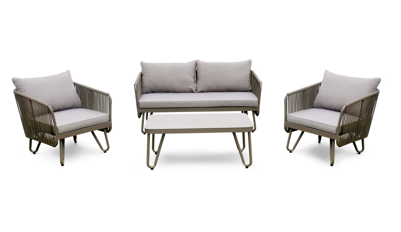 Set sofas jardin Sibenik cuerda textilene taupe