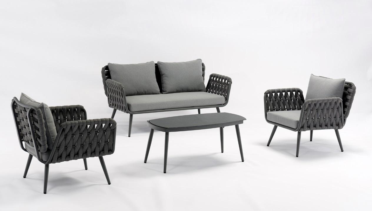 Set sofas jardin Zagreb cuerda trenzada gris