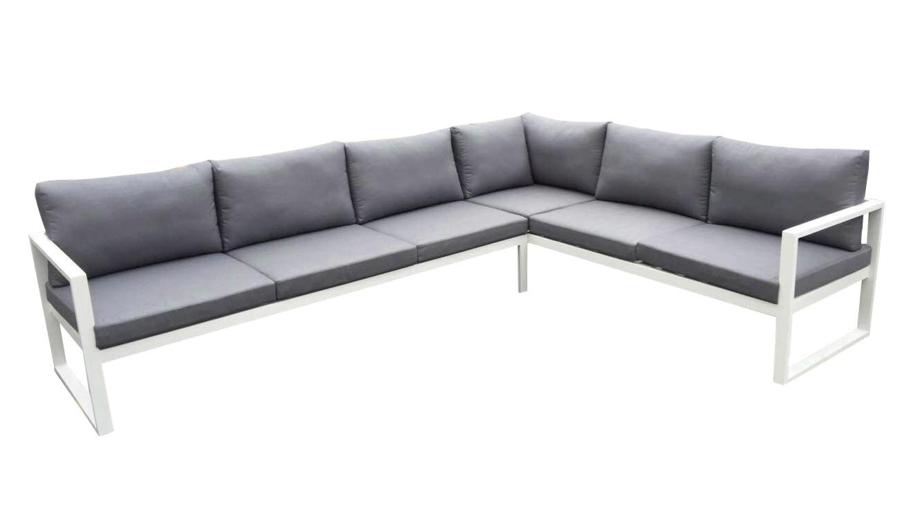 Sofa angular solaro aluminio blanco cojines gris 209x282