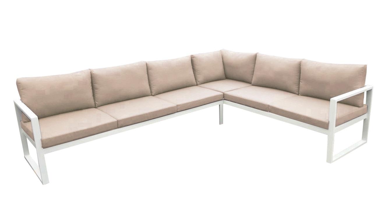 Sofa angular solaro aluminio blanco cojines khaki 209x282 cm