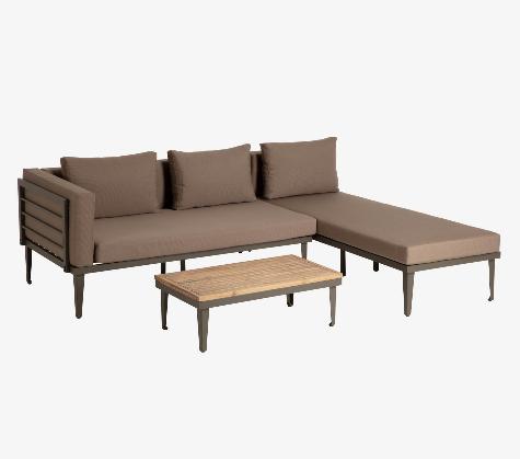 Set Paradise de sofá, chaise longue y mesa auxiliar