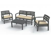Set terraza sofas resina con cojines Marco