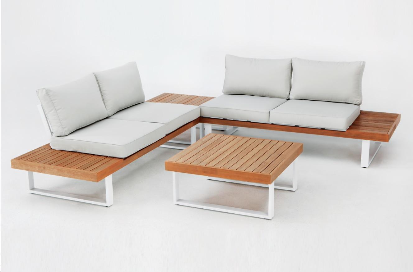 Set Tunez madera aluminio blanco