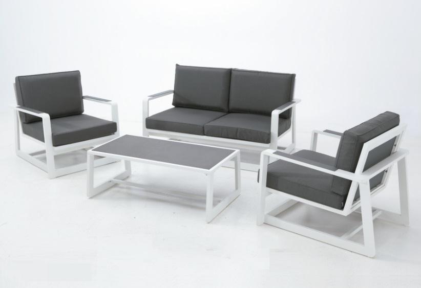 Set Bora sofa aluminio blanco cojines antracita