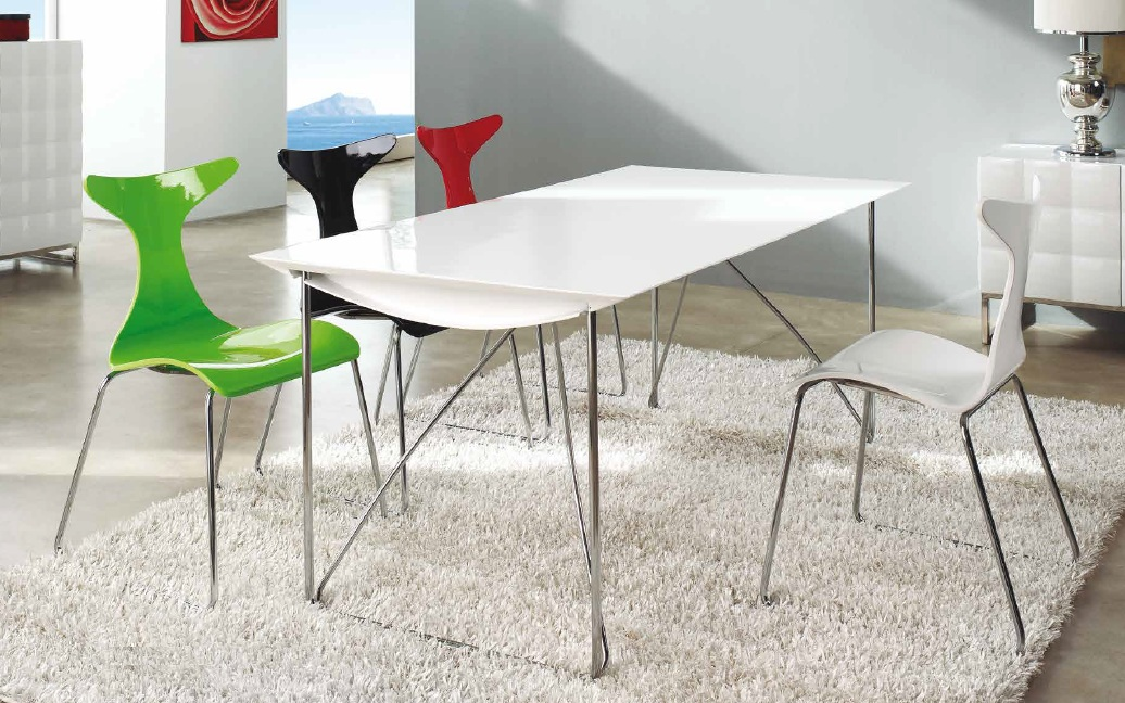 Silla patin apilable blanco brillo CH-1002
