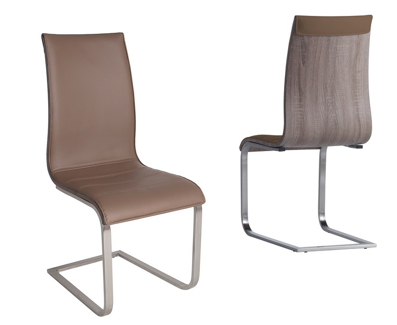 Silla Aramis similpiel capuchino roble gris