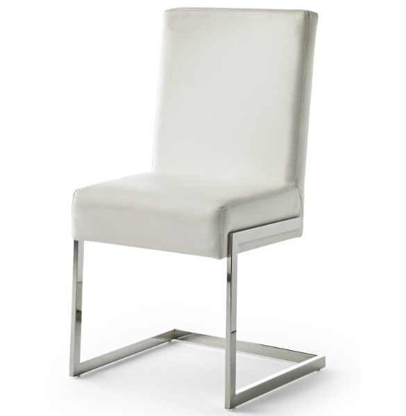 Silla similpiel blanco acero inox CH-1008