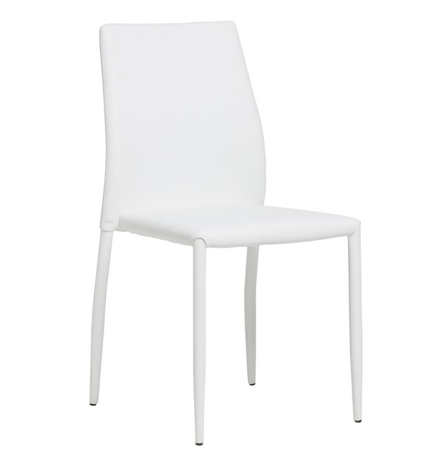 Silla Elyn apilable polipiel blanco