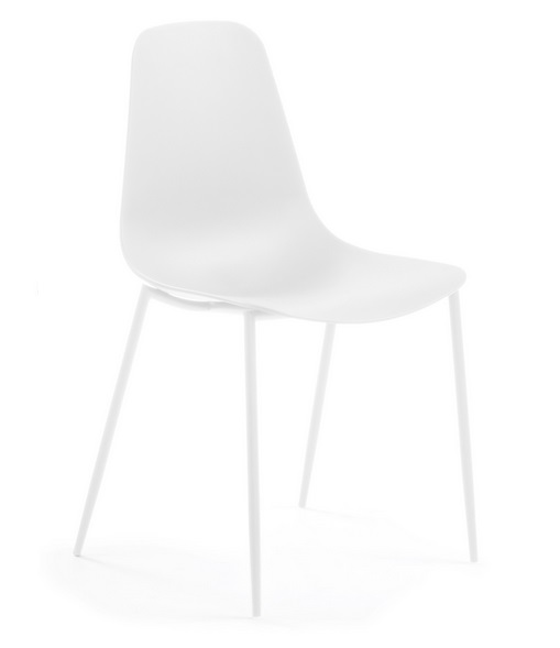 Silla metal plastico blanco Easy