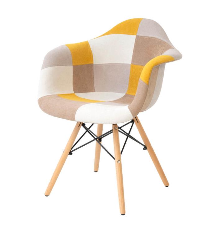 Silla patchwork tipo sillón Sofie mostaza