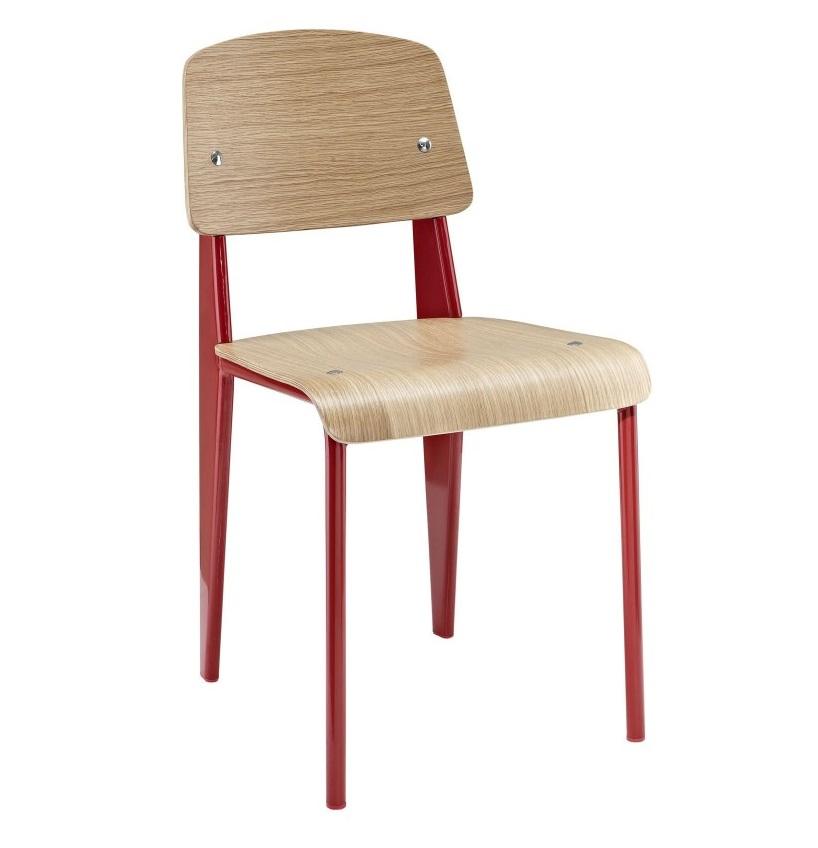 Silla standard madera laminada natural acero rojo