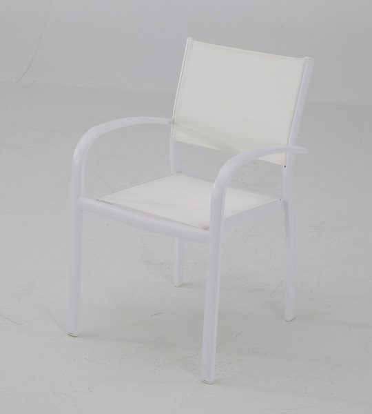 Silla terraza aluminio textilene blanco Sunset