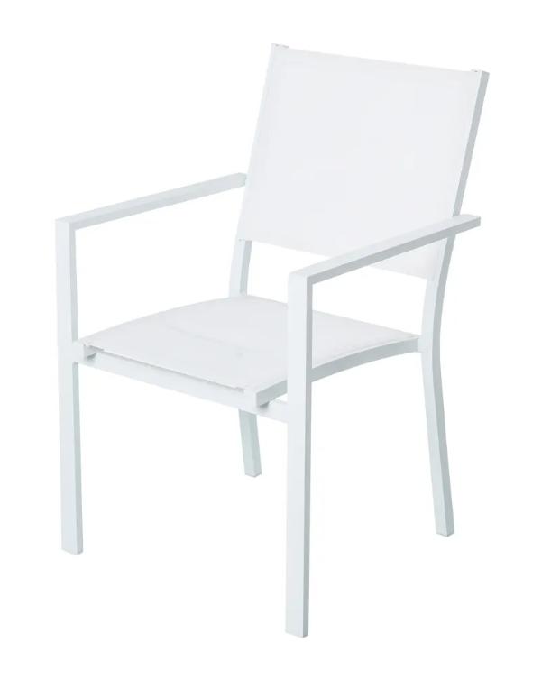 Silla Thais apilable aluminio textileno blanco